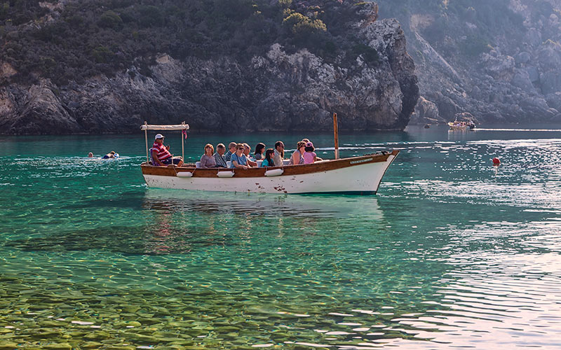 Boats in Paleokastritsa Corfu